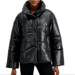 INC Faux Leather Puffer Coat Jacket Sz: Large